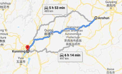 Route map from Anshun to Vietnamese Consulate in Kunming