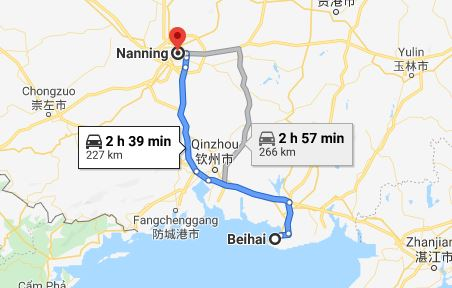 Route map from Beihai to the Vietnamese Consulate in Nanning