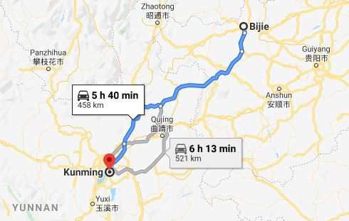 Route map from Bijie to Vietnamese Consulate in Kunming