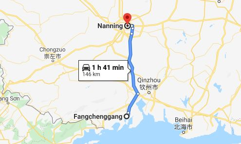 Route map from Fangchenggang to Vietnamese Consulate in Nanning
