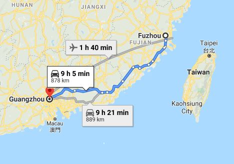 Route map from Fuzhou to the Consulate General of Vietnam