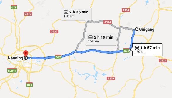 Route map from Guigang to Vietnamese Consulate in Nanning