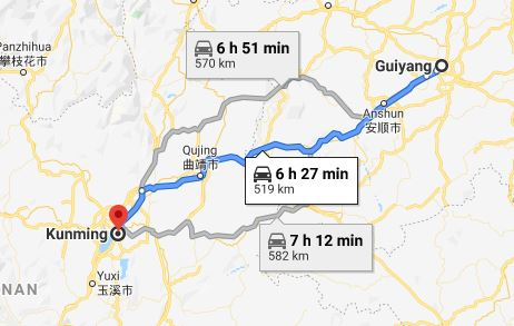 Route map from Guiyang to Vietnamese Consulate in Kunming