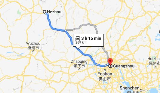 Route map from Hezhou to Vietnamese Embassy in Guangzhou