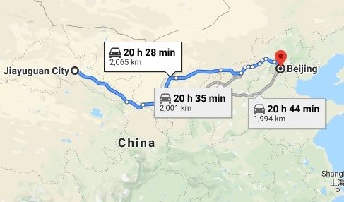 Route map from Jiayuguan City to the Vietnamese Embassy in Beijing