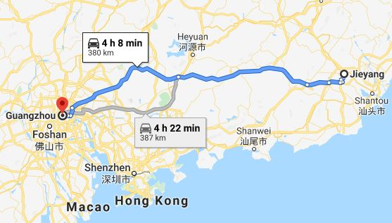 Route map from Jieyang to Vietnamese Embassy in Guangzhou