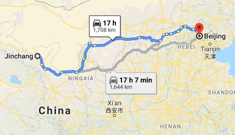 Route map from Jinchang to the Vietnamese Embassy in Beijing