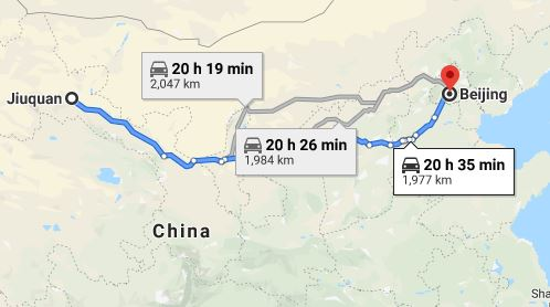 Route map from Jiuquan to the Vietnamese Embassy in Beijing