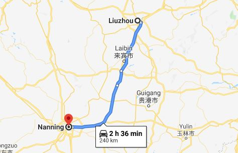 Route map from Liuzhou to Vietnamese Consulate in Nanning