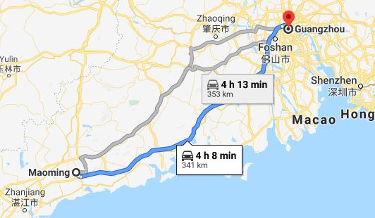 Route map from Maoming to Vietnamese Embassy in Guangzhou