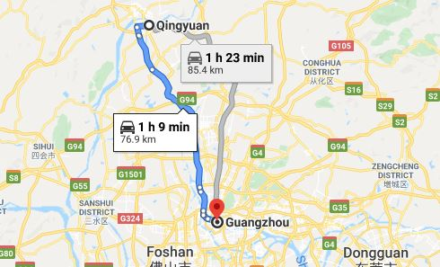 Route map from Qingyuan to Vietnamese Embassy in Guangzhou
