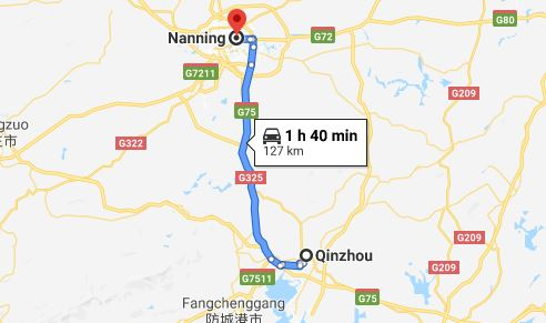 Route map from Qinzhou to Vietnamese Consulate in Nanning