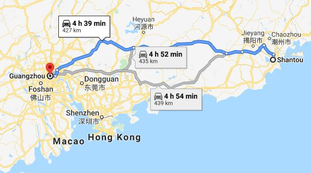 Route map from Shantou to Vietnamese Embassy in Guangzhou