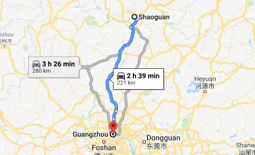 Route map from Shaoguan to Vietnamese Embassy in Guangzhou