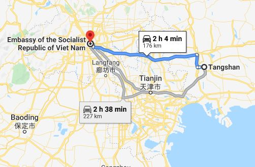 Route map from Tangshan to the Vietnamese Embassy in Beijing