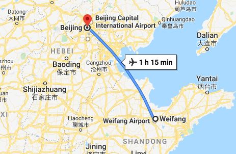 Route map from Weifang to the Vietnamese Embassy in Beijing