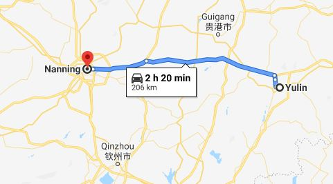 Route map from Yulin to Vietnamese Consulate in Nanning
