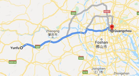 Route map from Yunfu to Vietnamese Embassy in Guangzhou