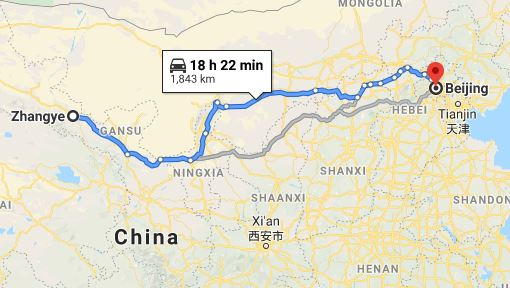 Route map from Zhangye to the Vietnamese Embassy in Beijing