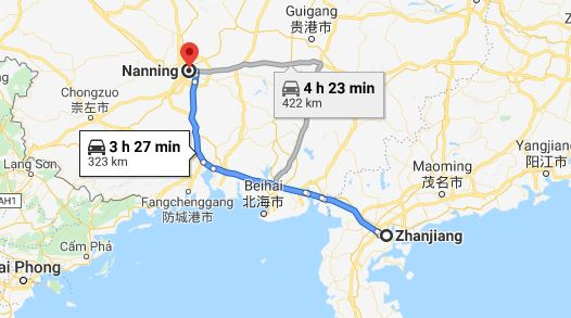 Route map from Zhanjiang to Vietnamese Consulate in Nanning