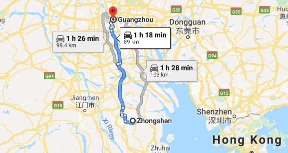 Route map from Zhongshan to Vietnamese Embassy in Guangzhou