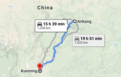 Route map from Ankang to the Vietnamese Consulate in Kunming