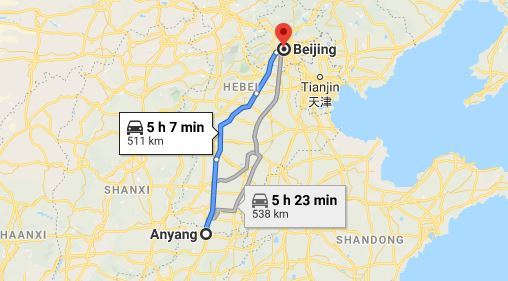 Route map from Anyang to the Vietnamese Embassy in Beijing