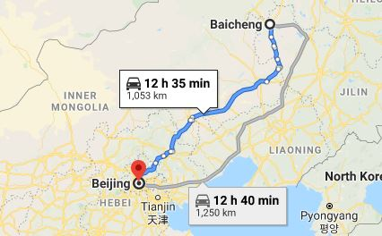 Route map from Baicheng to the Vietnamese Embassy in Beijing