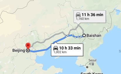 Route map from Baishan to the Vietnamese Embassy in Beijing