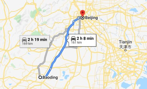 Route map from Baoding to the Vietnamese Embassy in Beijing