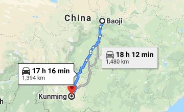 Route map from Baoji to the Vietnamese Consulate in Kunming