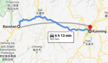Route map from Baoshan to the Vietnamese Consulate in Kunming