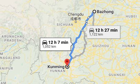 Route map from Bazhong to the Vietnamese Consulate in Kunming