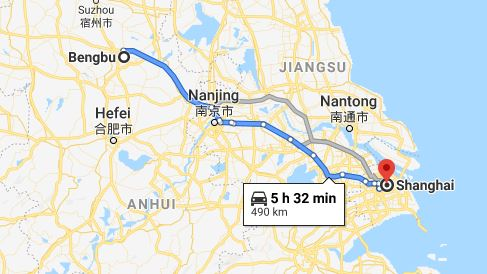 Route map from Bengbu to the Vietnamese Consulate in Shanghai