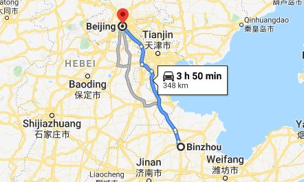 Route map from Binzhou to the Vietnamese Embassy in Beijing
