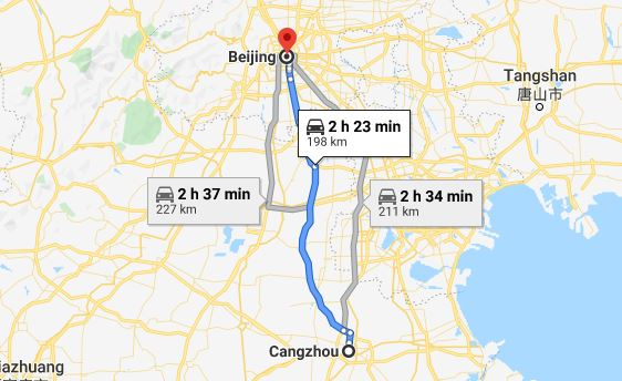 Route map from Cangzhou to the Vietnamese Embassy in Beijing