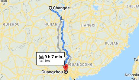 Route map from Changde to the Consulate of Vietnam in Guangzhou