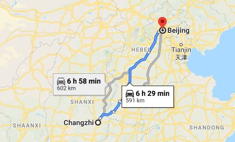 Route map from Changzhi to the Vietnamese Embassy in Beijing