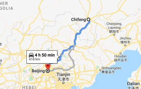Route map from Chifeng to the Vietnamese Embassy in Beijing