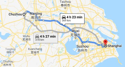 Route map from Chuzhou to the Vietnamese Consulate in Shanghai
