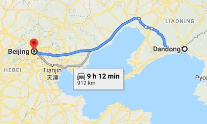 Route map from Dandong to the Vietnamese Embassy in Beijing