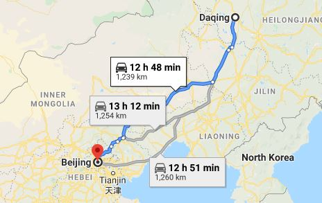 Route map from Daqing to the Vietnamese Embassy in Beijing