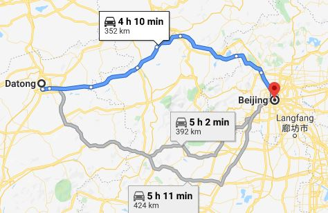 Route map from Datong to the Vietnamese Embassy in Beijing