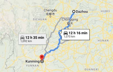 Route map from Dazhou to the Vietnamese Consulate in Kunming