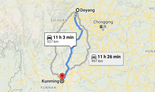 Route map from Deyang to the Vietnamese Consulate in Kunming
