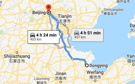 Route map from Dongying to the Vietnamese Embassy in Beijing