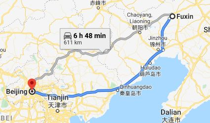 Route map from Fuxin to the Vietnamese Embassy in Beijing