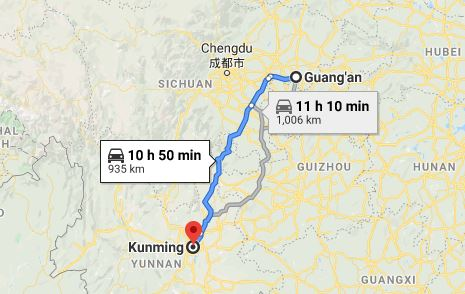 Route map from Guang'an to the Vietnamese Consulate in Kunming