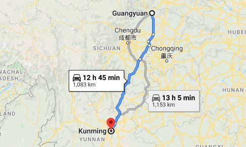 Route map from Guangyuan to the Vietnamese Consulate in Kunming
