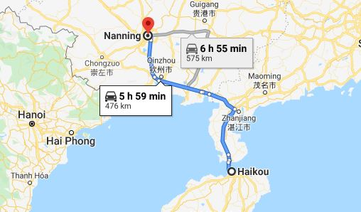 Route map from Haikou to the Vietnamese Consulate in Nanning